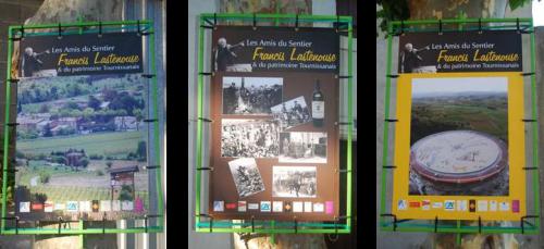 Panneaux exposés dans le village pour les 10 ans de l'Association des Amis du Sentier Francis Lastenouse